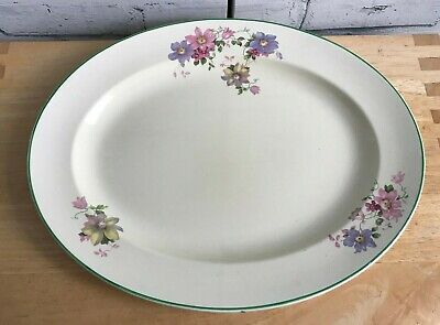 Vintage Crown Ducal England Oval Meat Plate Floral Pattern 14  X 11  • 12£