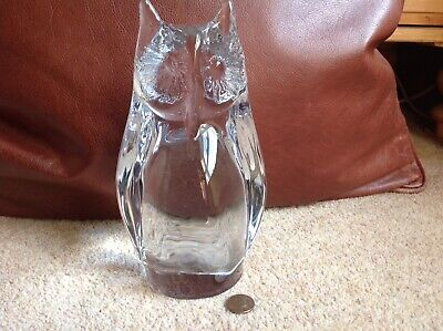 Daum France Heavy Crystal Glass Owl 21cm High  • 90£