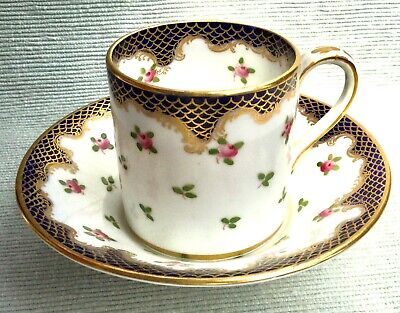 Stunning Cobalt Blue & Gold Crown Staffordshire Coffee Can & Saucer Pink Roses • 10£