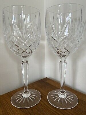 Vintage Crystal Large Wine Glasses 19.5cm Tall X 2 Replacement • 15£