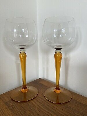 Vintage Crystal Amber Stem Wine Hock Glass 18.cm Tall X 2 Replacement • 12£