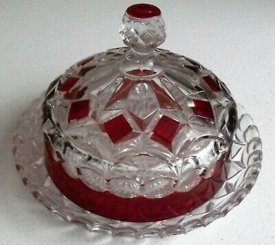 Ruby Flash Round Vintage Crystal Covered Dish • 44.19£