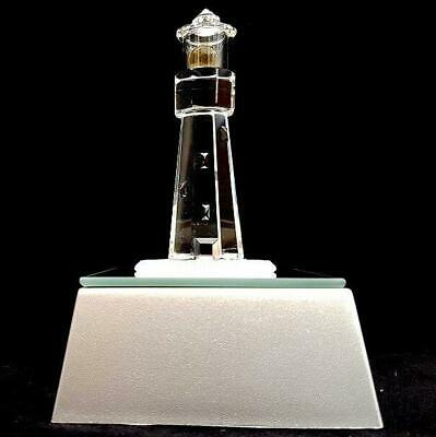 Crystal Glass Lighthouse With Light Box Ornament • 9.99£