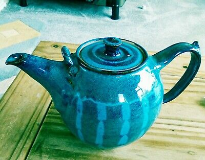 Two Tone Blue Pottery Teapot Hand Painted, Glazed, Country, Holds 3 Pints READ • 12.90£