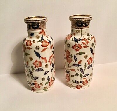 ANTIQUE S H & S – SAMPSON HANCOCK & SONS TOKIO PATTERN VASES X 2 • 24£
