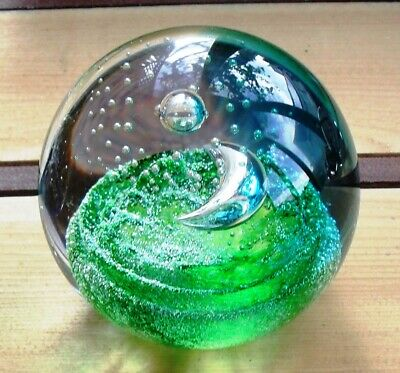 Signed Caithness 'Crescent Moon' Ltd Edition Glass Paperweight By Colin Terris • 12£