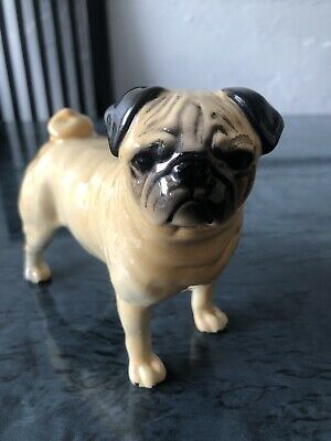 Vintage Beswick Pug Dog Figurine CH Cutmil Immaculate Condition • 14.95£