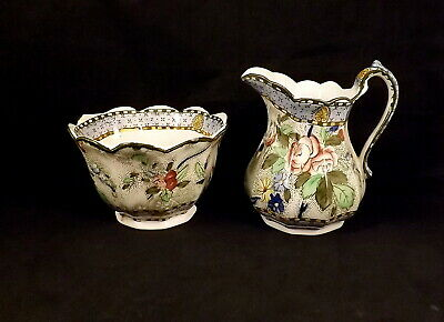 S Hancock & Sons Royal Corona Ware Rosetta Milk Jug & Sugar Bowl - 1935-37 • 5£