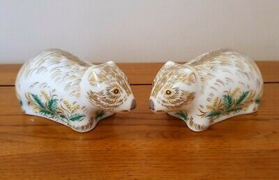 Rare Royal Crown Derby - *PAIR OF WOMBAT* Paperweights - Very Beautiful. • 110£
