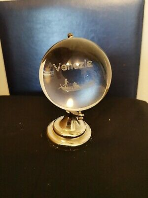 Crystal Clear Glass 3d Laser Etched Venezia Globe Paperweight  • 2.99£