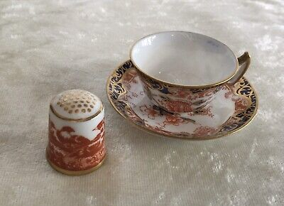 Antique Royal Crown Derby Miniature Cup And Saucer And A Thimble. • 28£