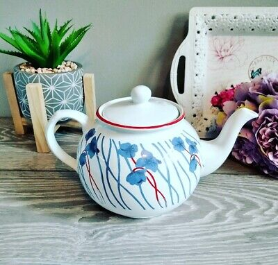 Vintage English Blue And Red Floral Teapot By Arthur Woods • 9.99£