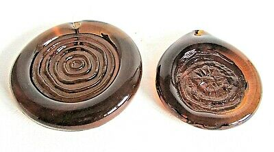 Two Brown Glass Hanging Ornaments Design Eric Hoglund For Kosta Boda (Rare)  • 50£