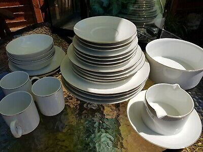 Thomas Rosenthal MEDALLION Dining Set 28 Pieces Gold Germany Plates Bowl Cups • 39.99£