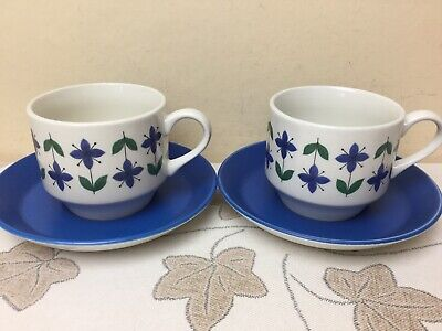 Midwinter Roselle 2 X Tea Cups & Saucers Superb Condition • 5.99£