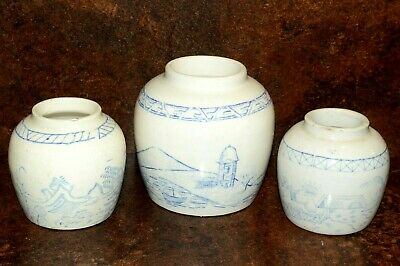 Ceramic Pottery Ginger Jars Origin Unknown Fine Blue Hand Paintings • 7£
