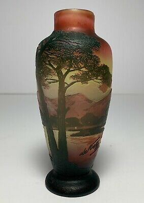 DeVez FRENCH CAMEO Art Glass Vase SIGNED Mountains Trees Lake Scenic • 363.12£