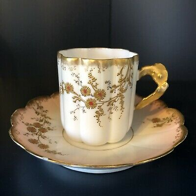 Beautiful Raised Painting Limoges Coffee Cup And Saucer • 23.50£
