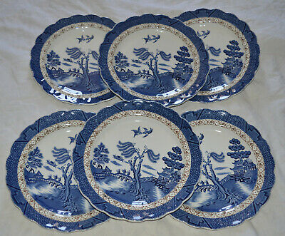 Booths Real Old Willow 8.5  DESSERT PLATES X 6 • 26.99£