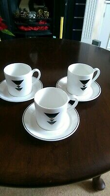 Vintage ROYAL STAFFORD ART DECO  Pattern Coffee Cups And Saucers X 3  -vgc • 4.50£