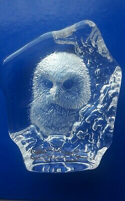 Mats Jonasson Signed Full Lead Crystal Owl Paperweight Sculpture • 12£