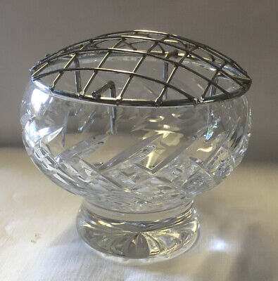 Vintage Cut Glass Rose Bowl 10cmx8cm With Metal Mesh Top Used But Good Condition • 2£