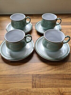 Set Of 4 Regency Green Tea Cups And Saucers • 15£