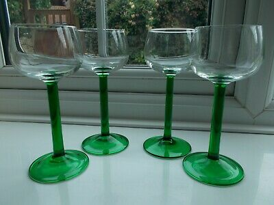 Vintage Retro Green Stemmed Hock Wine Glasses Made In France • 4.99£