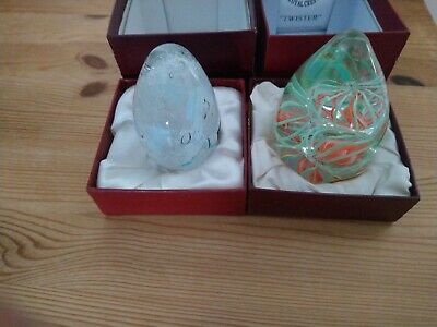 LANGHAM GLASS STUDIO 1 Boxed Blue Ice Egg Green Orange Paperweight New Odd Box  • 2.05£