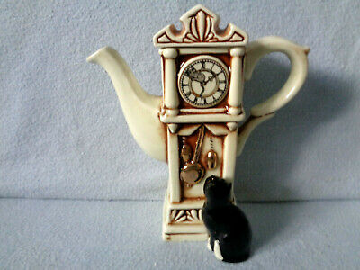 ** Brautiful & Tactile Grandfather Clock With Cat Cardew Teapot * Mint Condition • 19.99£
