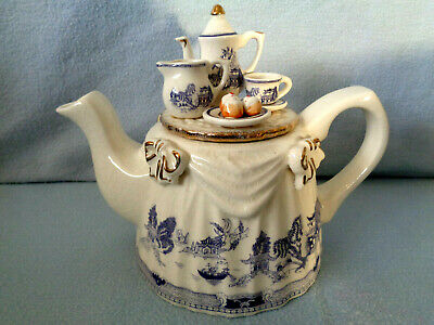 ** Beautifully Detailed Very Rare Blue Willow 2 Cup Cardew Teapot ** Exc Con ** • 34.99£