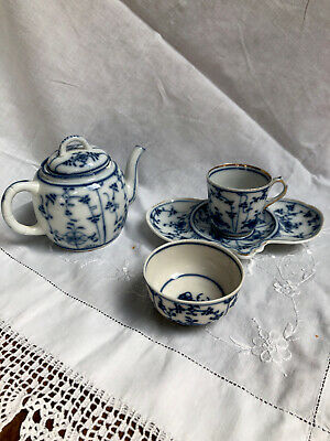 Beautiful Antique Small Tettau Teapot, Cup, Plate And Jug Strawflower- C. 1840 • 10£