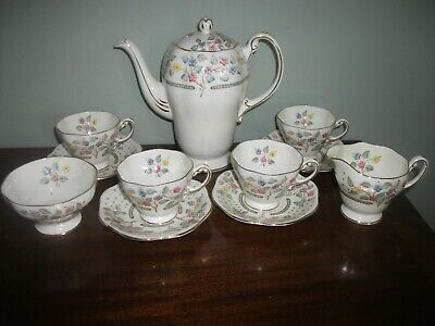 Lovely Vintage  Foley Bone China  H Painted Coffee Set.Ex Condition • 22£