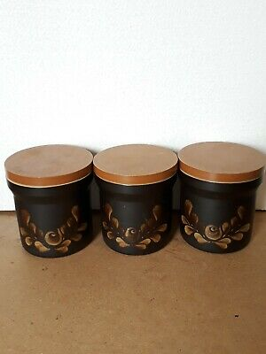 Denby Bakewell Vintage Retro Stoneware Tea Coffee Sugar Canister Set Of 3 1908s • 4.99£