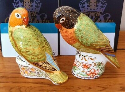 Rare Royal Crown Derby *PAIR OF LOVEBIRD* Paperweights - Boxed - Beautiful. • 220£