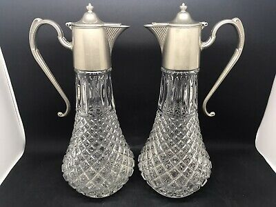 Pair Of Glass Jugs / Ewers With Silver Plated Lids & Handles • 18.50£