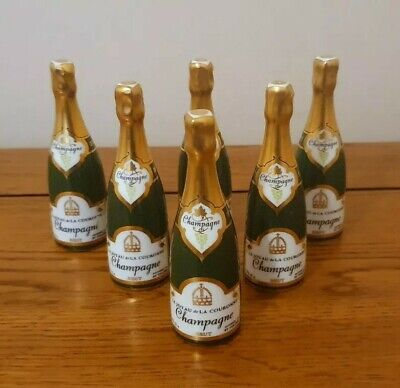 Very Rare Royal Crown Derby *SET OF 6 MINIATURE CHAMPAGNE BOTTLES* - Beautiful. • 250£