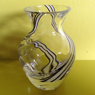 CAITHNESS Blown Glass Fluted Mini Vase Black White Stripe Posy 1980s Collectable • 2.10£