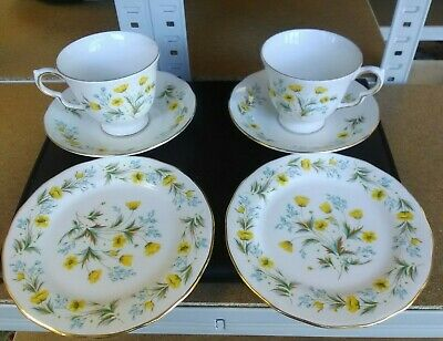 Colclough 2 Pretty Bone China Teacups, Saucers & Side Plates Very Good Condition • 4.50£