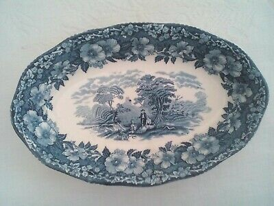 Oval Serving Dish/gravy Underplate, Enoch Wedgwood Woodland Pattern, 1970s • 8£