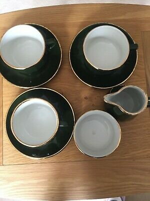 Apilco Green And Gold 3 Large Coffee Cups Saucers, Sugar Bowl And Milk Jug • 15£