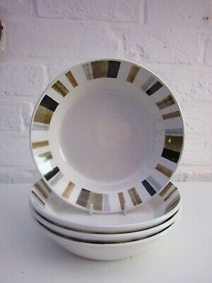 4 Queensbury Stripe Midwinter Cereal Bowls • 6£