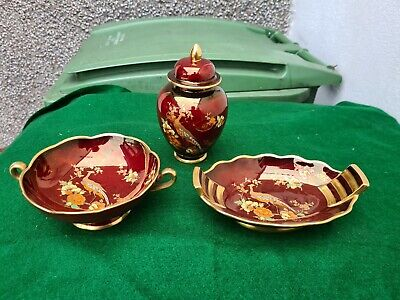Job Lot 3 Pieces Carlton Ware Rouge Royale - Lidded Urn Etc • 28.99£