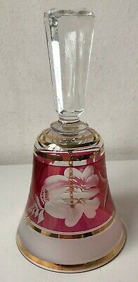 Vintage Pink Glass Bell Etched Flower Design Gold Detail Beautiful Sound • 7£