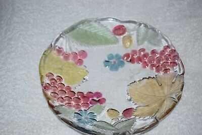 Vintage  Pressed Embossed Glass With A Fruit Design -8  Dia • 3£