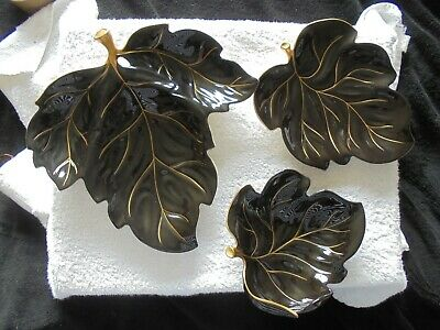 3 Carlton Ware Black/Gold Leaf Dishes Differing Sizes Hand Painted • 9.99£