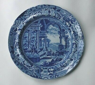 ANTIQUE BLUE & WHITE PLATE Marked ANCIENT ROME - Circa 1815 • 20£