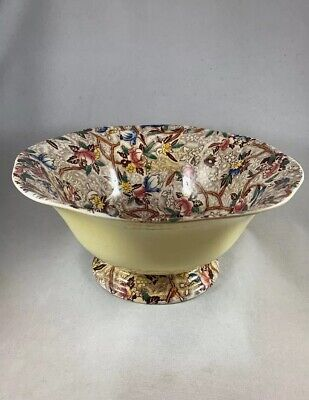 """MALING Pottery """"Chintz Chestnut Brown Painted Colours"""" Pedestal Bowl #6527 • 15£"""