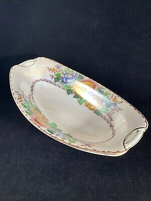 """Vintage Maling """"Peony Rose Mother Of Pearl"""" Design Oval Bowl #6572 • 12£"""