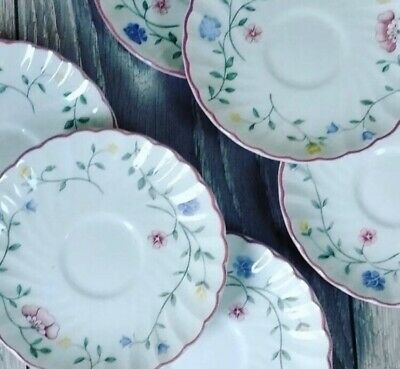 * 6 Pretty Pink Floral 1980s Vintage Saucers 🌷 Summer Chintz Johnson Brothers* • 4.99£